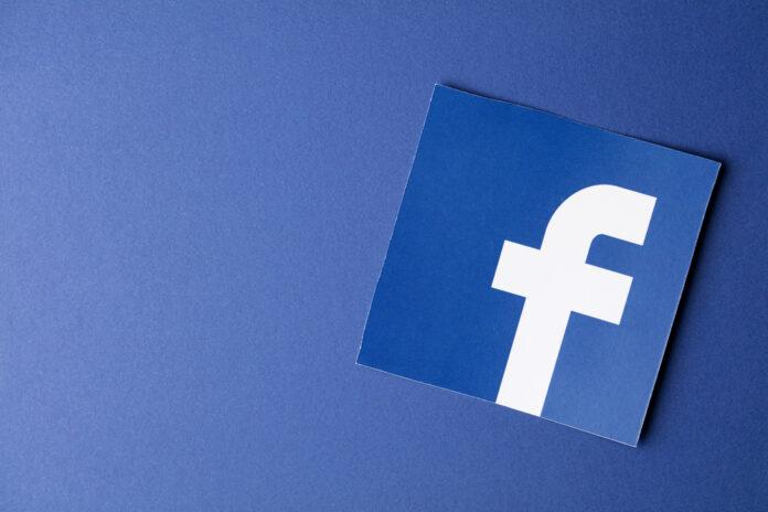 Facebook logo against blue background