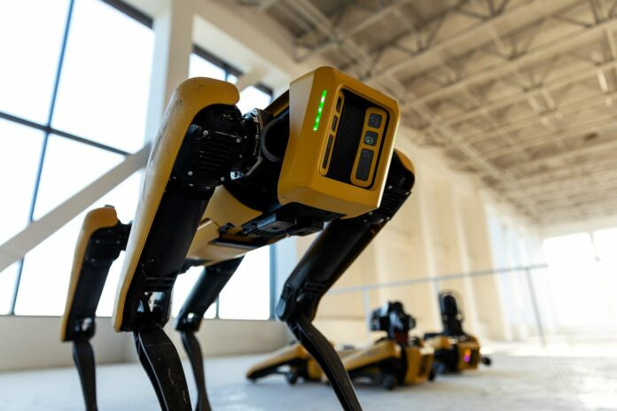 Black and yellow robotic dog in warehouse