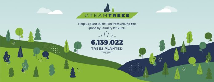 Team Trees logo with animated background of trees