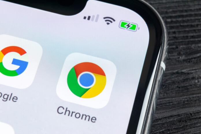 Smartphone Showing Google Chrome application