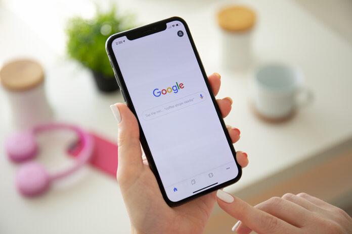Google search on smartphone screen