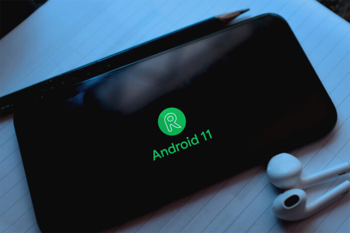 Smartphone showing Android 11 logo