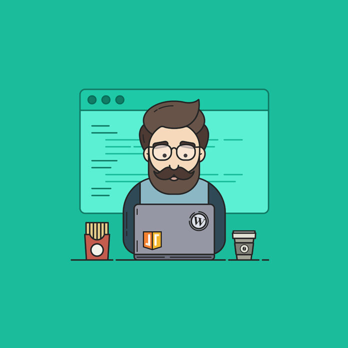 Animated person sitting at laptop doing SEO