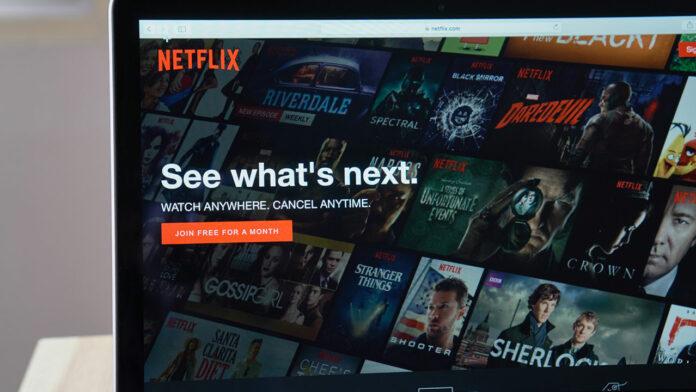 Laptop with Netflix app open