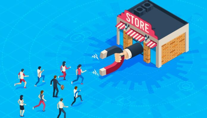 Animated image of a store attracting customers with a giant magnet
