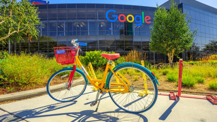 Bicycle infront of Google offices