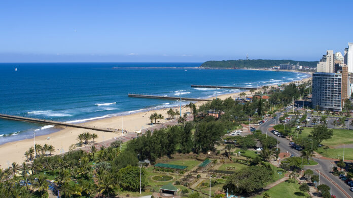 Skyview of Durban beachfront, promenade, buildings and harbor