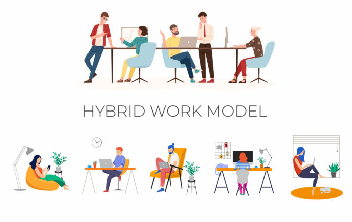 Animated image of people working into different places