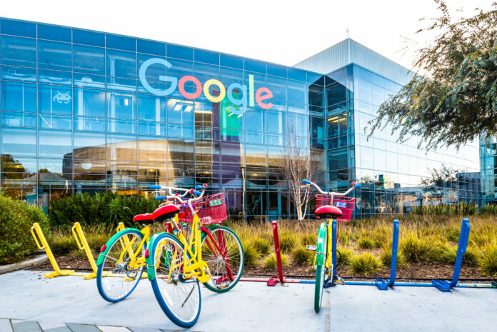 3 bicycles outside of Google headquarters office