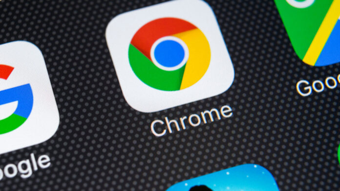 Smartphone app drawer showing Google Chrome and other Google applications