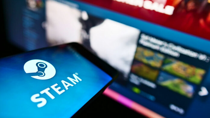 Smartphone with Steam logo on screen