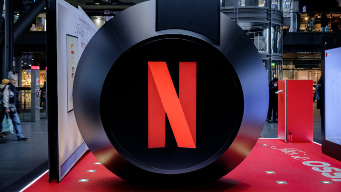 Giant headphones with Netflix logo
